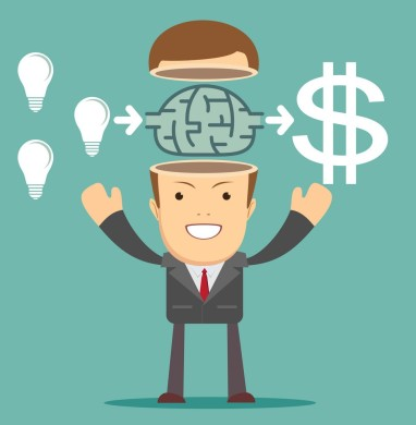 Businessman get idea to make money, illustration vector